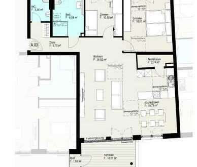 Perfekte Dreizimmerwohnung mit zwei Terrassen und Gartenanteil