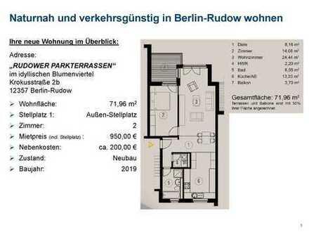 2-Zimmer-Neubauwohnung, 1. OG - naturnah und verkehrsgünstig wohnen in Berlin-Rudow