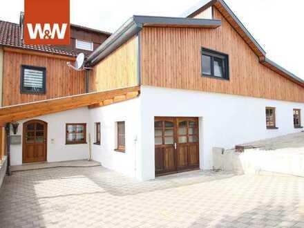 Einfamilienhaus mit großer Werkstatt  in idylischer Wohnlage -Fassadenverkleidung in Holzoptik-