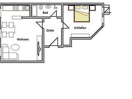 Sanierte 2-Raum Wohnung mit Einbauküche und Balkon
