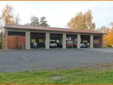 Bauplatz mit drei Garagengebäuden in ruhiger Ortsrandlage von Birstein Obersotzbach