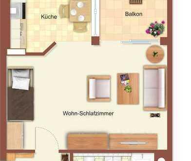 Große 1-Raum-Wohnung mit Balkon und Stellplatz