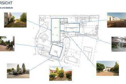2 Hallen ca. 2600+ca.1700 qm(m. 2. Ebene 2000+1075 qm) mit Büro/Sozialräumen, Teilflächen möglich