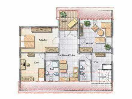 Vollständig renovierte 3-Zimmer-DG-Wohnung mit Loggia in Lünen Niederaden