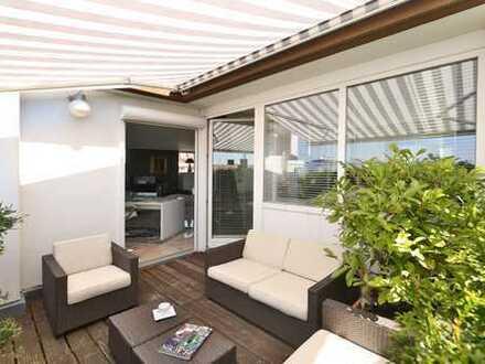 Exkl. flippige Miet-Kauf-Dachterrassenwohnung in ruhiger Bestlage mit 80 qm Dachterrasse