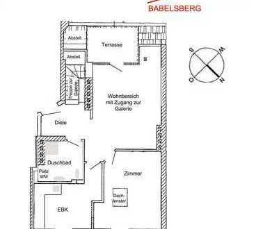 Potsdam-Babelsberg: Dachgeschosswohnung mit Galerie im Altbau, SW-Terrasse, EBK (kein Lift)