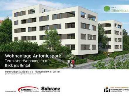 KfW55! 2-ZKB Wohnung im EG mit Süd/West-Loggia in Pfaffenhofen! Aufzug, Elektr. Rollläd., FBH!