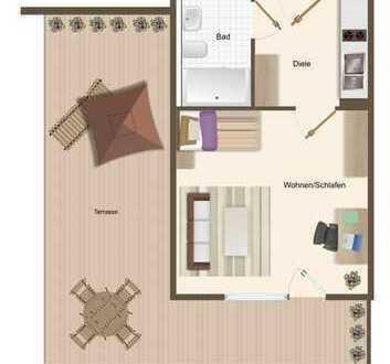 Erstbezug im Neubau. Seniorengerechte, 1 Raum-Wohnung mit großer Terrasse und KFZ-Stellplatz