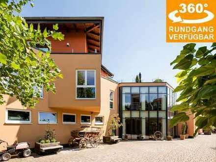Repräsentative Unternehmervilla mit Gewerbeflächen (317 m² Wfl. | 931 m² Nfl.) in Heldenbergen