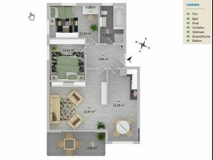 ++ NEUBAU ++ Eigentumswohnung mit 82 m2, OG, 3,5 Zimmern in Wäschenbeuren mit Balkon