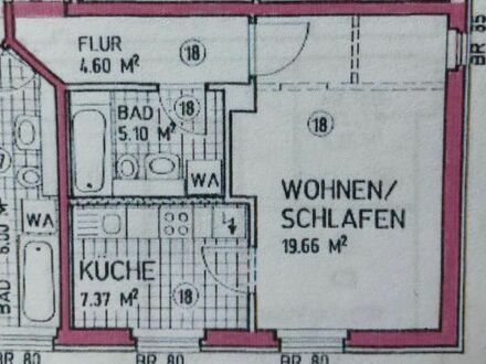 Wohnung-BESTSINGLE -36,73 qm- Wohn-Schlaf/Küche/Bad/Flur