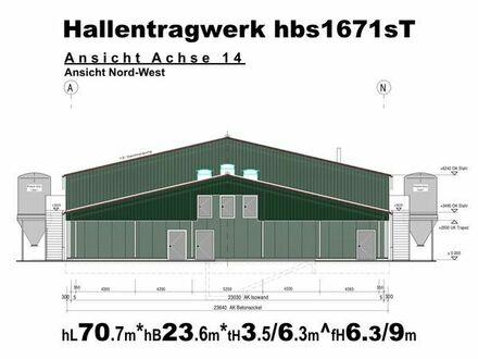 Tragwerk für Legehennenstall L70m x B23m Stahlhalle