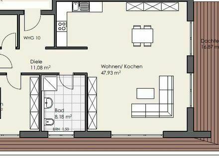 Erstbezug: attraktive 2-Zimmer Wohnung mit Dachterrasse in Flörsheim-Dalsheim