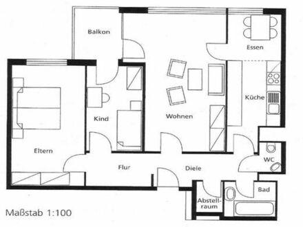 TOP: Vermiete schöne, helle 3,5 Zimmer in WN, zentral am Bahnhof, Hochhaus, 8. Stock, Balkon, frei