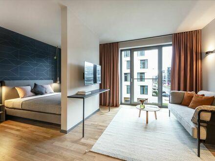 Design Serviced Apartment Medium in Darmstadt, Vitra Lounge, Tiefgaragen, Großes Rooftop