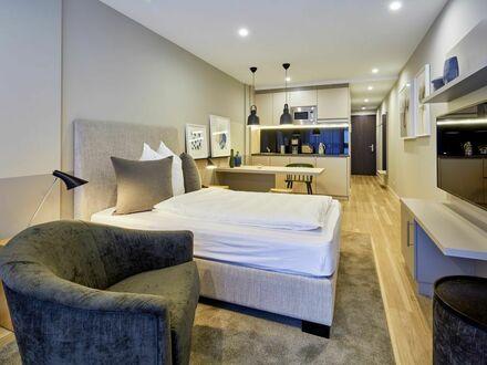 Voll ausgestattete 1-Zimmer-Wohnung mit Balkon im roomments. Apartmenthouse im Stuttgarter Zentrum