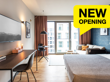 Design Serviced Apartment Smart in Darmstadt, Vitra Lounge, Tiefgaragen, Großes Rooftop