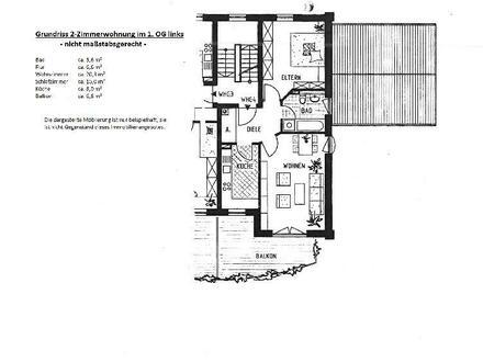 2-Raumeigentumswohnung mit Balkon im 1.Obergeschoss eines um 1997 erbauten 6-Familienwohnhauses
