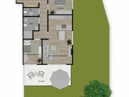 Villa Gründlach: Gut geschnittene 3-Zimmer-Neubau-Wohnung mit Garten und Terrasse!