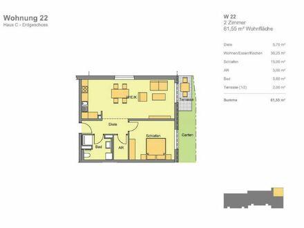 Erdgeschoss, Garten, Terrasse, (Whg 22), Hugo in Katzwang: Besondere 2-Zimmer-Wohnung mit Gartenanteil