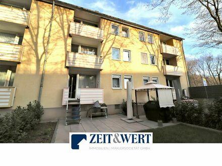 Köln-Buchheim! Eigener Garten! Topp gepflegte, sonnenhelle, 3-Zimmer-Eigentumswohnung mit Kamin, Balkon, Terrasse und e…