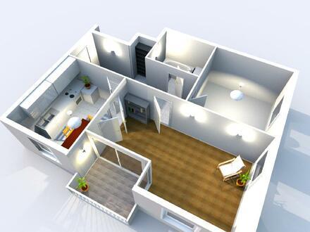 2 Zimmerwohnung mit Balkon im Dachgeschoss (Fahrstuhl und Stellplatz in der Tiefgarage)