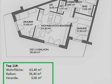 3 Zimmer Neubauerstbezug mit großem Balkon - Provisionsfrei