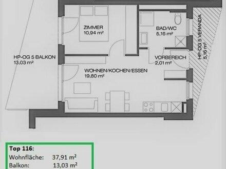 2 Zimmer Neubauerstbezug mit Balkon - Provisionsfrei