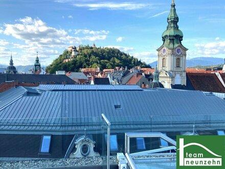 Traumhafte Luxuswohnung auf 2 Ebenen mit Dachterrasse und beeindruckendem Schlossbergblick!