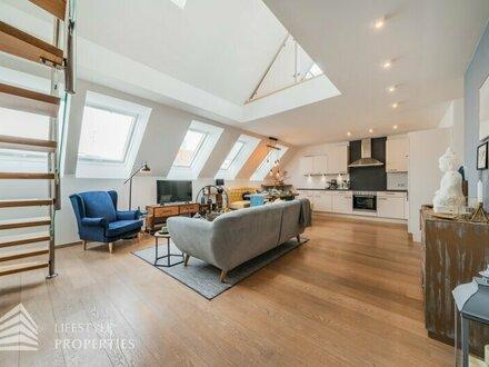 Traumhafte, möblierte 4-Zimmer Penthouse-Wohnung mit Terrasse, Nähe Josef-Strauss-Park