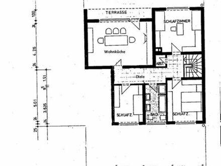 5 Zimmer-Wohnung mit Wohnküche, Terrasse, Garten, Gäste-WC und PKW-Stellplatz