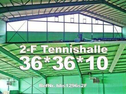 Zweifeld Tennishalle 36x36x9m Stahlhalle aus Abbruch