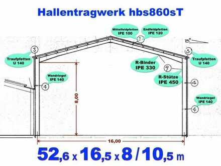 Lagerhalle Stahlhalle L52.6m x B16.5m x T8m / F10.5m aus Rückbau