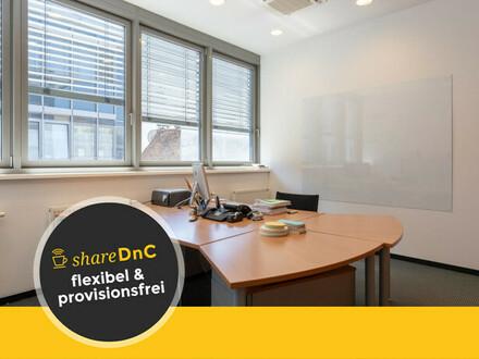 Helle, möblierte Büroräume mit Sonnenschutz und Deckenkühlgeräten zu - All-in-Miete