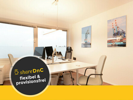 Schreibtischplätze in hellem Büro mit Blick über Hamburg - All-in-Miete