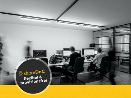 Offene Arbeitsplätze in einem Büro mit industriellem Flair - All-in-Miete