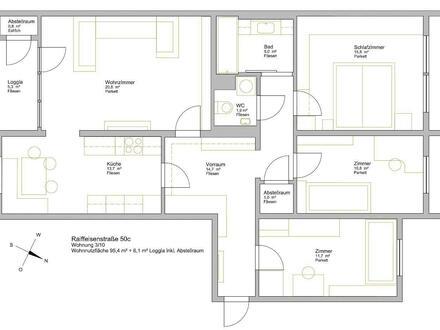 4 Zimmer Wohnung mit Loggia und Privatpark zu vermieten