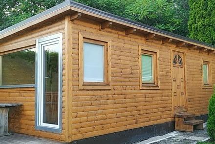 Neues Kleingartenhaus auf Anhöhe mit toller Aussicht, ganzjähriges Mobilheim mit Kleingarten
