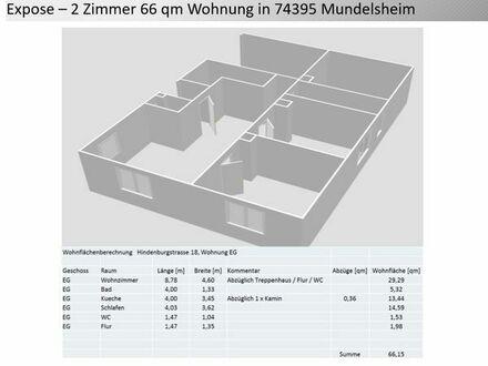 2 Zimmer 66 qm in 74395 Mundelsheim