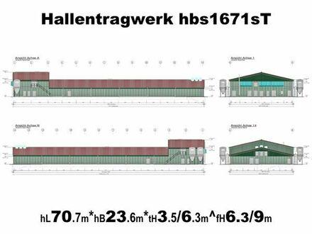 Stahlhallentragwerk für Legehennenstall L70m x B23m