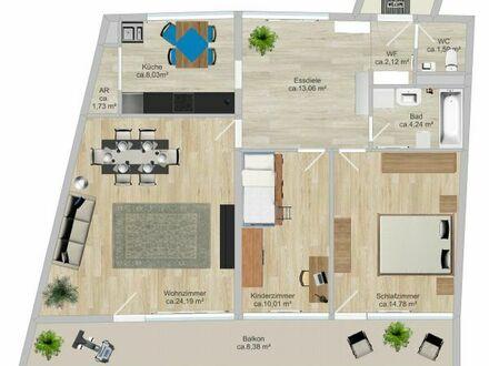 Schöne und geräumige 3 Zimmer Wohnung mit Stellplatz im Garagenhaus.