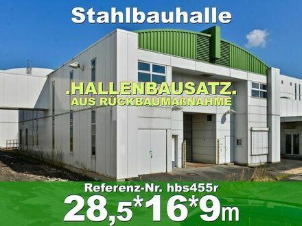 Solide Mehrzweckhalle 28x16x9m zweigeschossige Stahlhalle abzutragen