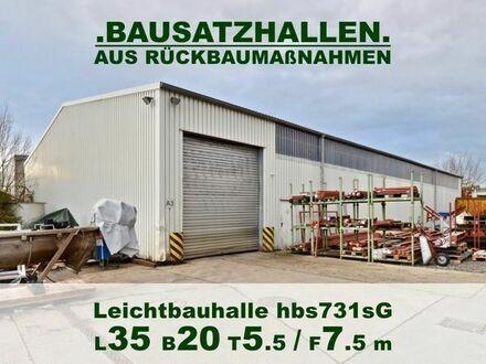 Verzinkte Stahlhalle 35x20x5.5/7.5m Leichtbauhalle aus Rückbau