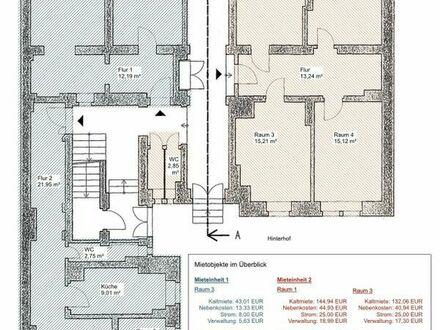 Vier helle Gewerberäume (zw. 15 bis 18 m²) zu vermieten
