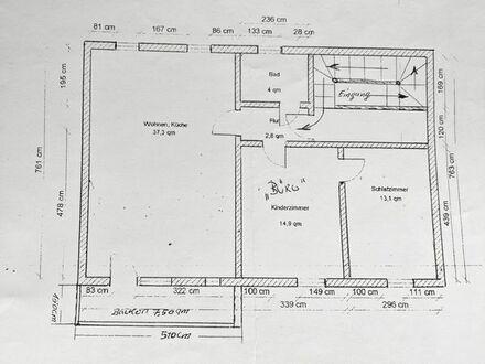 3 zimmerwohnung mit 7,5 qm Balkon 69 qm
