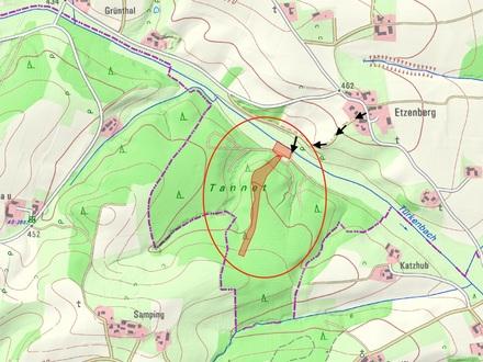1,2 ha Wald- und Wiesenfläche zwischen Erlbach und Zeilarn