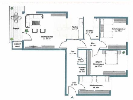 Helle 4 1/2 Zimmer-Wohnung mit Balkon in Biberach