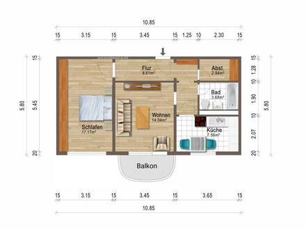 2-Raum-Wohnung, im 1.OG mit Balkon + eigener PKW-Stellplatz!