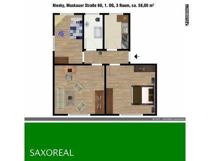 Frisch renovierte 3 Raum Wohnung in Niesky!
