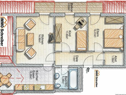 Gepflegte Dreizimmerwohnung in einer kleinen Anlage